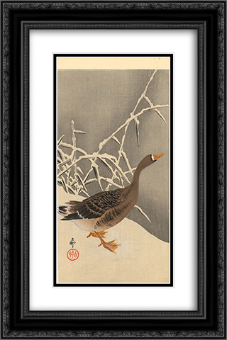 Goose on the snow 16x24 Black or Gold Ornate Framed and Double Matted Art Print by Ohara Koson