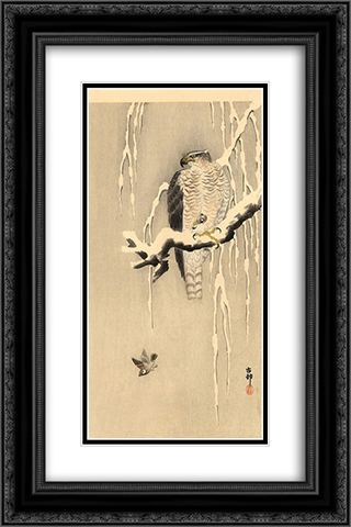 Goshawk on snowy branch 16x24 Black or Gold Ornate Framed and Double Matted Art Print by Ohara Koson