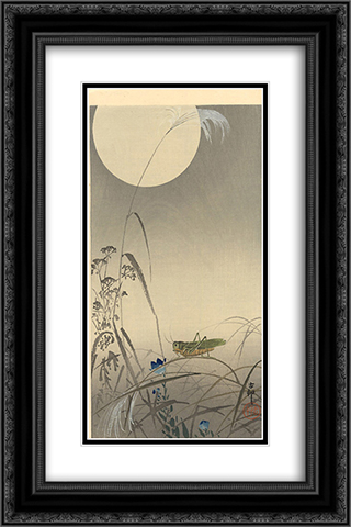 Grasshoper and Fool Moon 16x24 Black or Gold Ornate Framed and Double Matted Art Print by Ohara Koson