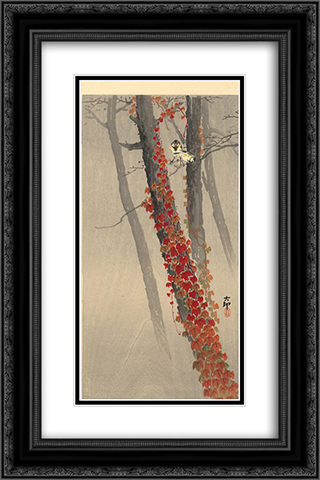 Great tits on a branch 16x24 Black or Gold Ornate Framed and Double Matted Art Print by Ohara Koson