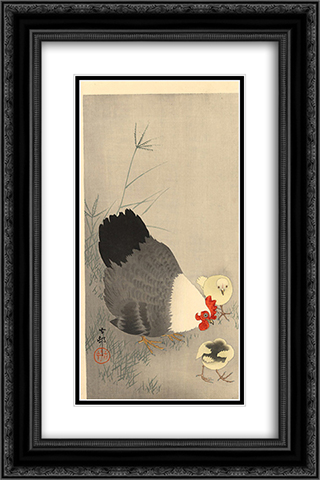 Hen and two chicks in grass 16x24 Black or Gold Ornate Framed and Double Matted Art Print by Ohara Koson