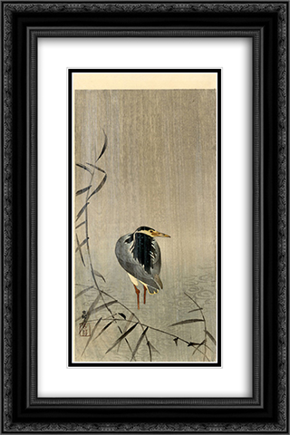 Heron in Downpour 16x24 Black or Gold Ornate Framed and Double Matted Art Print by Ohara Koson