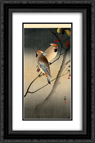 Jays on Berry Tree 16x24 Black or Gold Ornate Framed and Double Matted Art Print by Ohara Koson
