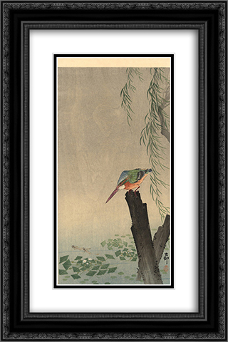 Kingfisher 16x24 Black or Gold Ornate Framed and Double Matted Art Print by Ohara Koson