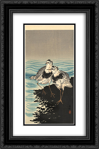 Knots on Shore 16x24 Black or Gold Ornate Framed and Double Matted Art Print by Ohara Koson