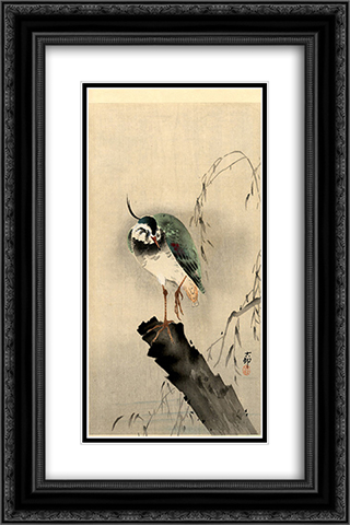 Lapwing on Tree Stump 16x24 Black or Gold Ornate Framed and Double Matted Art Print by Ohara Koson