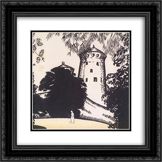Female silhouette against the background of the castle 20x20 Black or Gold Ornate Framed and Double Matted Art Print by Oleksandr Bogomazov