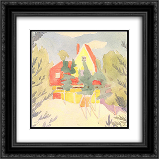 Landscape with the house with red roof 20x20 Black or Gold Ornate Framed and Double Matted Art Print by Oleksandr Bogomazov