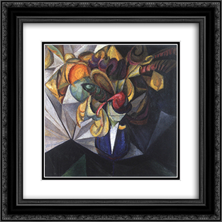 Still life with flowers 20x20 Black or Gold Ornate Framed and Double Matted Art Print by Oleksandr Bogomazov