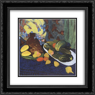Still life with fruits and vegetables 20x20 Black or Gold Ornate Framed and Double Matted Art Print by Oleksandr Bogomazov