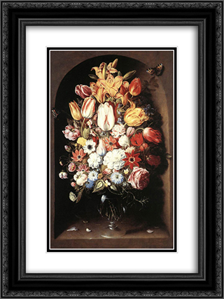 Bouquet in a Niche 18x24 Black or Gold Ornate Framed and Double Matted Art Print by Osias Beert