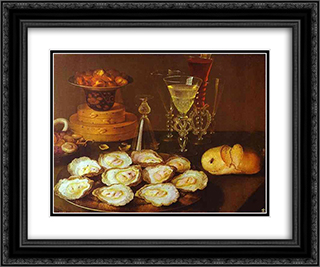 Oysters and Glasses 24x20 Black or Gold Ornate Framed and Double Matted Art Print by Osias Beert