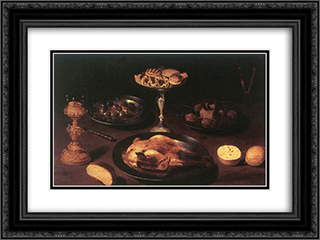 Still Life 24x18 Black or Gold Ornate Framed and Double Matted Art Print by Osias Beert