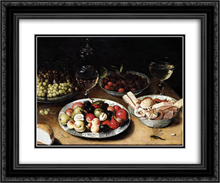 Still Life of Fruit 24x20 Black or Gold Ornate Framed and Double Matted Art Print by Osias Beert