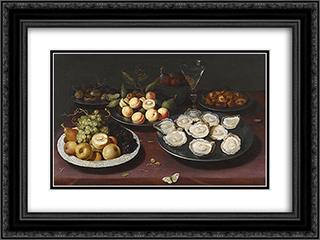 Still Life Of Fruit And A Plate Of Oysters 24x18 Black or Gold Ornate Framed and Double Matted Art Print by Osias Beert
