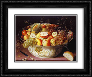 Still Life of fruit in a Wan-li Bowl 24x20 Black or Gold Ornate Framed and Double Matted Art Print by Osias Beert