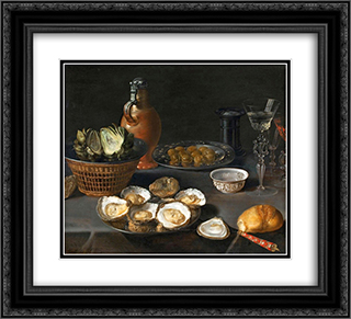 Still Life with Artichokes 22x20 Black or Gold Ornate Framed and Double Matted Art Print by Osias Beert