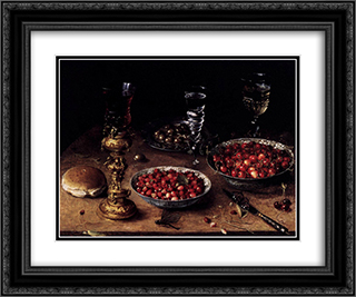 Still Life with Cherries and Strawberries in China Bowls 24x20 Black or Gold Ornate Framed and Double Matted Art Print by Osias Beert