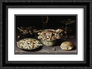 Three Dishes of Sweetmeats and Chestnuts with Three Glasses on a Table 24x18 Black or Gold Ornate Framed and Double Matted Art Print by Osias Beert