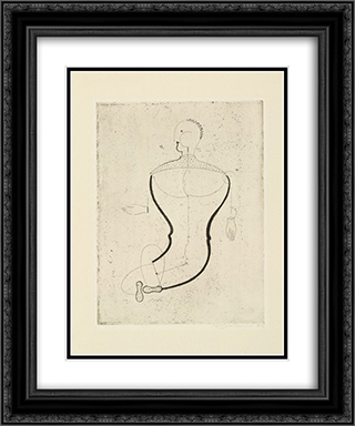 Abstract Figure, Facing Left Figure S (Abstrakte Figur, nach links Figur S) 20x24 Black or Gold Ornate Framed and Double Matted Art Print by Oskar Schlemmer