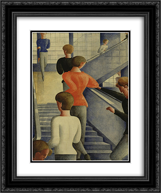 Bauhaus Stairway 20x24 Black or Gold Ornate Framed and Double Matted Art Print by Oskar Schlemmer
