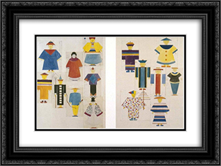 Die Nachtigall 24x18 Black or Gold Ornate Framed and Double Matted Art Print by Oskar Schlemmer