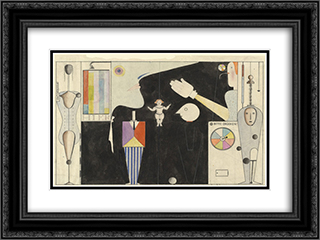 The Figural Cabinet (Das figurale Kabinett) 24x18 Black or Gold Ornate Framed and Double Matted Art Print by Oskar Schlemmer