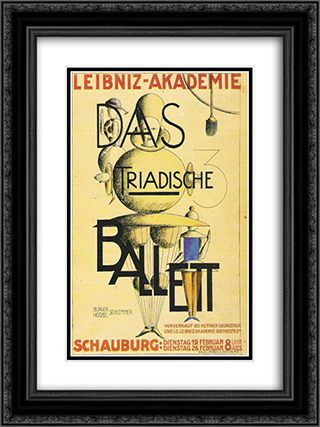 The Triadic Ballet 18x24 Black or Gold Ornate Framed and Double Matted Art Print by Oskar Schlemmer