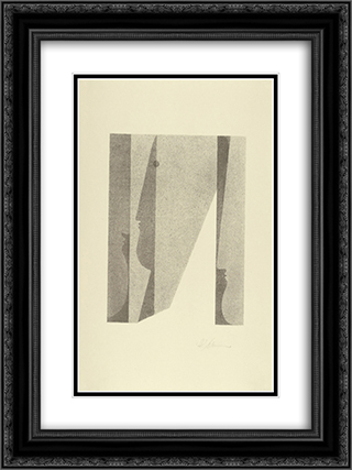 Three Heads, Superimposed (Drei Kopfe, ineinander) 18x24 Black or Gold Ornate Framed and Double Matted Art Print by Oskar Schlemmer
