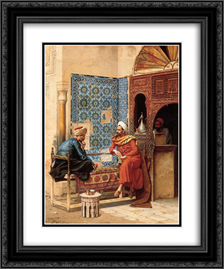 Chest 20x24 Black or Gold Ornate Framed and Double Matted Art Print by Osman Hamdi
