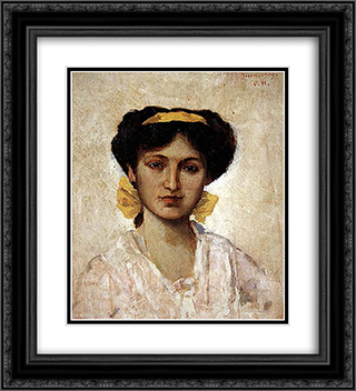 Girl with Yellow Ribbon 20x22 Black or Gold Ornate Framed and Double Matted Art Print by Osman Hamdi