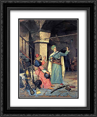 Gun Salesman 20x24 Black or Gold Ornate Framed and Double Matted Art Print by Osman Hamdi