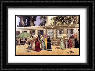 Ladies Taking a Walk 24x18 Black or Gold Ornate Framed and Double Matted Art Print by Osman Hamdi
