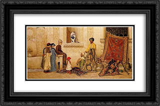 The Carpet Merchant 24x16 Black or Gold Ornate Framed and Double Matted Art Print by Osman Hamdi