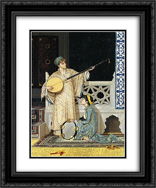 The Musician Girl 20x24 Black or Gold Ornate Framed and Double Matted Art Print by Osman Hamdi