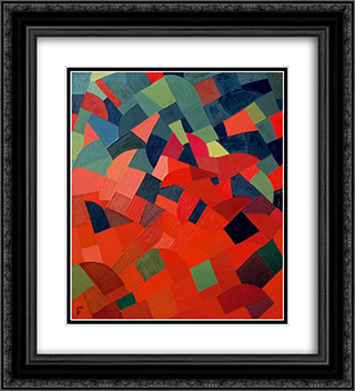 Grun-Rot 20x22 Black or Gold Ornate Framed and Double Matted Art Print by Otto Freundlich