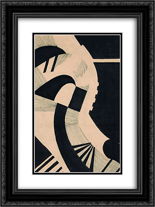 Komposition in Schwarz und Weiss 18x24 Black or Gold Ornate Framed and Double Matted Art Print by Otto Freundlich