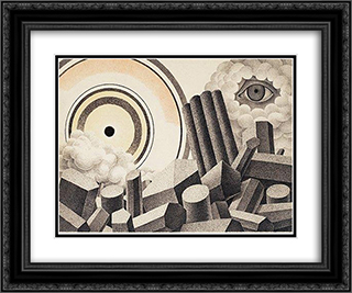 Apocalyptic Landscape 24x20 Black or Gold Ornate Framed and Double Matted Art Print by Otto Gustav Carlsund