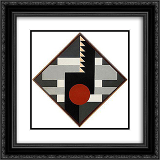 Diagonal komposition for tambur II 20x20 Black or Gold Ornate Framed and Double Matted Art Print by Otto Gustav Carlsund