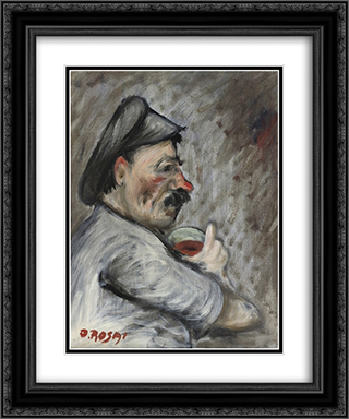 Drinking man 20x24 Black or Gold Ornate Framed and Double Matted Art Print by Ottone Rosai