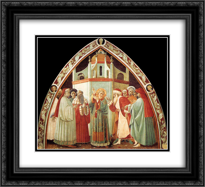 Disputation of St Stephen 22x20 Black or Gold Ornate Framed and Double Matted Art Print by Paolo Uccello