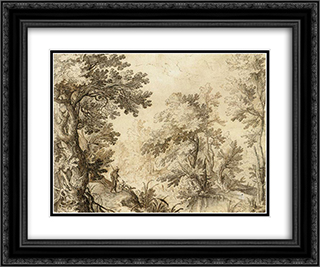 A Forest Pool 24x20 Black or Gold Ornate Framed and Double Matted Art Print by Paul Bril
