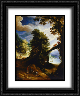 A wooded landscape with a bridge and sportsmen at the edge of the river 20x24 Black or Gold Ornate Framed and Double Matted Art Print by Paul Bril