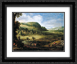 An Extensive Landscape 24x20 Black or Gold Ornate Framed and Double Matted Art Print by Paul Bril