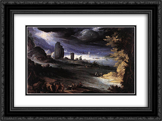 Coastal Landscape 24x18 Black or Gold Ornate Framed and Double Matted Art Print by Paul Bril
