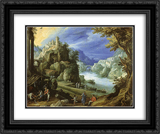 Fantastic mountain landscape 24x20 Black or Gold Ornate Framed and Double Matted Art Print by Paul Bril