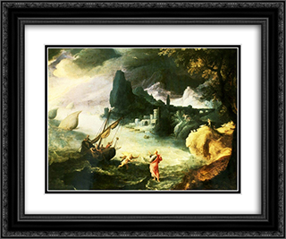 Jesus walking on the Sea of Galilee 24x20 Black or Gold Ornate Framed and Double Matted Art Print by Paul Bril