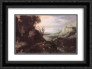 Landscape 24x18 Black or Gold Ornate Framed and Double Matted Art Print by Paul Bril