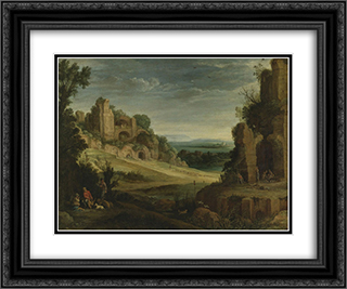 Landscape with a Hunting Party and Roman Ruins 24x20 Black or Gold Ornate Framed and Double Matted Art Print by Paul Bril