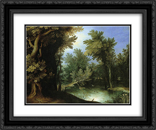 Landscape with a Marsh 24x20 Black or Gold Ornate Framed and Double Matted Art Print by Paul Bril